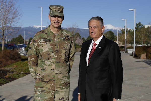 LTG Daniel R. Hokanson (left), USNORTHCOM Deputy Commander, welcomed Mr. Luis Felipe Puente (right), Mexico's National Coordinator for Civil Protection, to NORAD and USNORTHCOM April 13, 2016, to exchange information on disaster response and preparation.