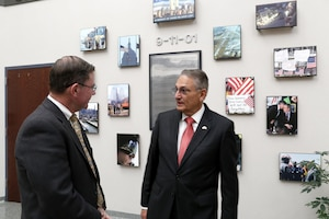 Mr. Luis Felipe Puente (right), Mexico's National Coordinator for Civil Protection, visited the 9-11 Memorial at NORAD and USNORTHCOM with Mr.