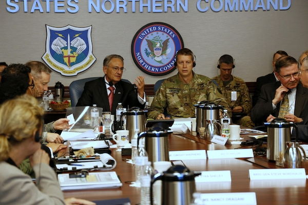 Mr. Luis Felipe Puente (left), Mexico's National Coordinator for Civil Protection, discussed disaster response and preparation with LTG Daniel R. Hokanson (right), USNORTHCOM Deputy Commander, and command staff April 13, 2016. Mr. Puente also briefed the group about Mexico's successful preparation and response to Hurricane Patricia, which occurred October 2015 on Mexico's west coast.
