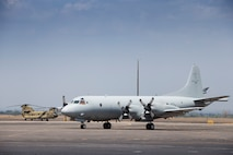 A Royal Australian Air Force No 11 Squadron AP-3C Orion maritime patrol aircraft taxis after arriving at Clark Air Force Base during Exercise Balikatan 2016.