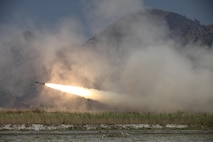 A U.S. Marines High Mobility Artillery Rocket System fires a rocket during a live fire exercise in support of Balikatan 16 at Crow Valley, Philippines, April 14, 2016. HIMARS conducted a live fire exercise at the conclusion of exercise Balikatan. Through our enduring partnership, the U.S. and Philippines are postured to rapidly deploy in response to real world crises across the military spectrum from natural disasters to conflict throughout the Indo-Asia-Pacific region.
