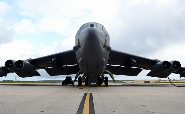 A U.S. Air Force B-52 Stratofortress bomber sits on the flightline April 14, 2016, at Andersen Air Force Base, Guam. The strategic global strike capability of B-52's deters potential adversaries and provides reassurance to allies and partners that the U.S. is capable to defend its national security interests in the Indo-Asia-Pacific region. (U.S. Air Force photo by Airman 1st Class Arielle Vasquez/Released)