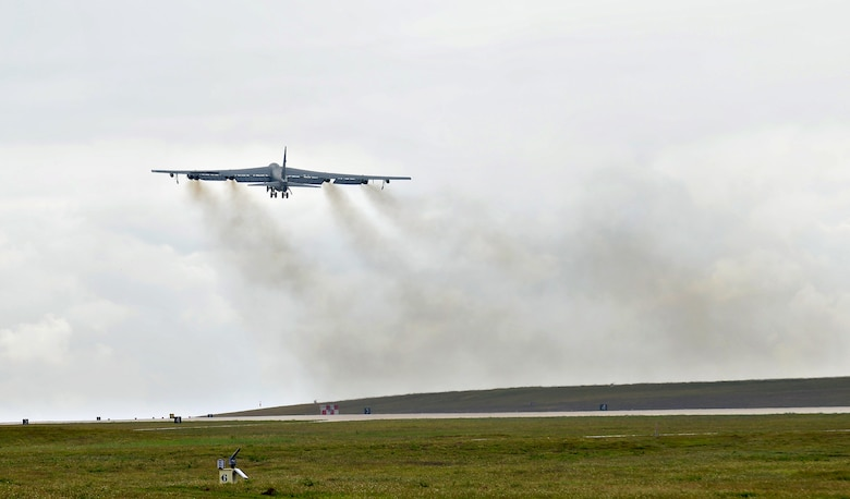 A U.S. Air Force B-52 Stratofortress bomber takes off April 14, 2016, from Andersen Air Force Base, Guam. The U.S. conducts continuous bomber presence operations as part of a routine, forward deployed, global strike capability supporting regional security and our allies in the Indo-Asia-Pacific region. (U.S. Air Force photo by Airman 1st Class Arielle Vasquez/Released)