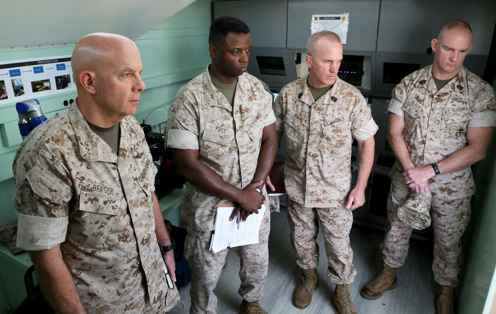 U.S. Marine Lt. Gen. David A. Berger and other high-level unit leaders receive a capabilities demonstration on 3-D printing technology aboard Camp Pendleton, Calif., April 6, 2016. Berger is the commanding general of I Marine Expeditionary Force. Marines with 1st Maintenance Battalion, Combat Logistics Regiment 15, 1st Marine Logistics Group, demonstrated the potential of 3-D printing capabilities to the commanders of I MEF and 1st MLG. Still in the testing phase, the battalion has already discovered endless possibilities as to how they can integrate the technology into their mission. (U.S. Marine Corps photo by Cpl. Carson Gramley/released)