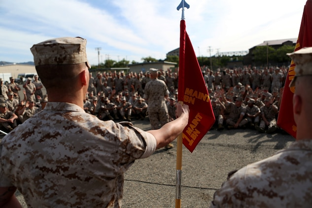 U.S. Marine Lt. Gen. David A. Berger speaks to the Marines of 1st Maintenance Battalion, Combat Logistics Regiment 15, 1st Marine Logistics Group, after a demonstration on 3-D printing technology aboard Camp Pendleton, Calif., April 6, 2016. Berger is the commanding general of I Marine Expeditionary Force. The battalion demonstrated the potential of 3-D printing capabilities to the commanders of I MEF and 1st MLG. Still in the testing phase with the printers, the battalion has already discovered endless possibilities as to how they can integrate the technology into their mission. (U.S. Marine Corps photo by Cpl. Carson Gramley/released)