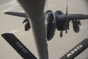 An Air Force F-15 Strike Eagle approaches a KC-135 Stratotanker for refueling over Iraq in support of Operation Inherent Resolve, the effort to counter the Islamic State of Iraq and the Levant in Iraq and Syria. Air Force photo by Staff Sgt. Corey Hook