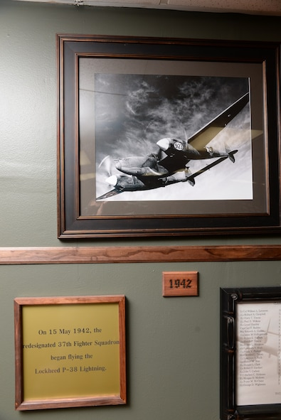 The 37th Flying Training Squadron heritage room shows the flying history and heritage at Columbus Air Force Base, Mississippi. The 37th FTS has flow many aircraft from the P-38 Lightning to the T-37 Tweet. (U.S. Air Force photo/Airman 1st Class John Day)