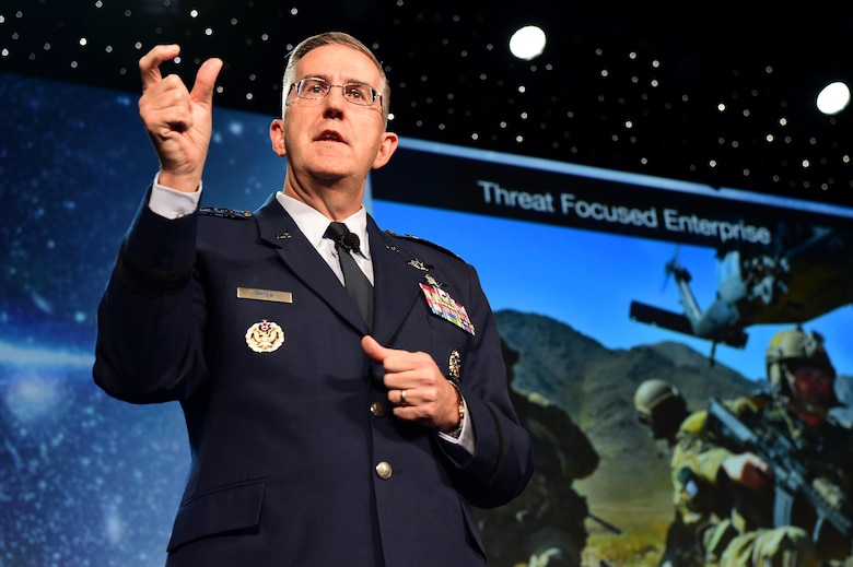 General John Hyten, commander of Air Force Space Command, speaks during a Space Symposium Program April 12, 2016, at the Broadmoor Hotel in Colorado, Springs, Colo. Hyten discussed the training of space warfighters and what improvements can be made for them to have quicker and more effective responses. (U.S. Air Force photo by Airman 1st Class Gabrielle Spradling/Released)