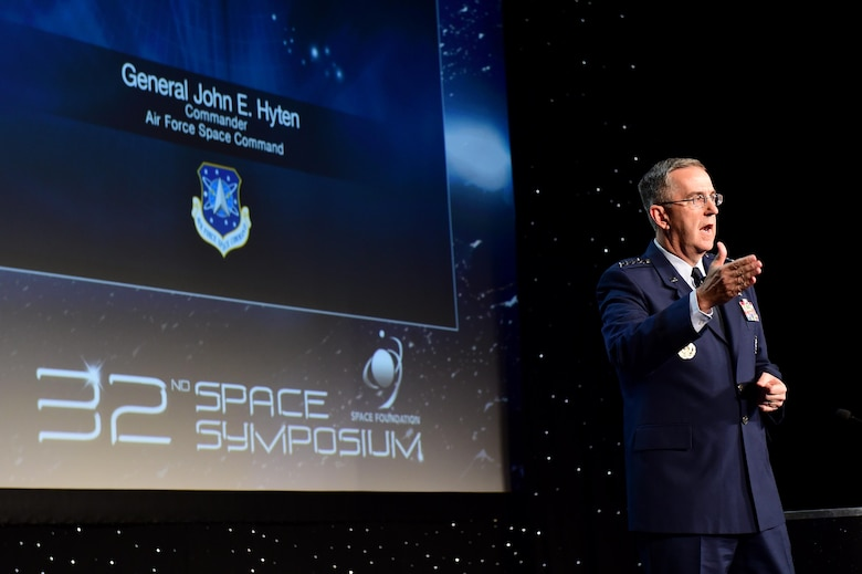 General John Hyten, commander of Air Force Space Command, speaks during a Space Symposium session April 12, 2016, at the Broadmoor Hotel in Colorado, Springs, Colo. Hyten focused on the importance of space capabilities and what improvements can be made. (U.S. Air Force photo by Airman 1st Class Gabrielle Spradling/Released)