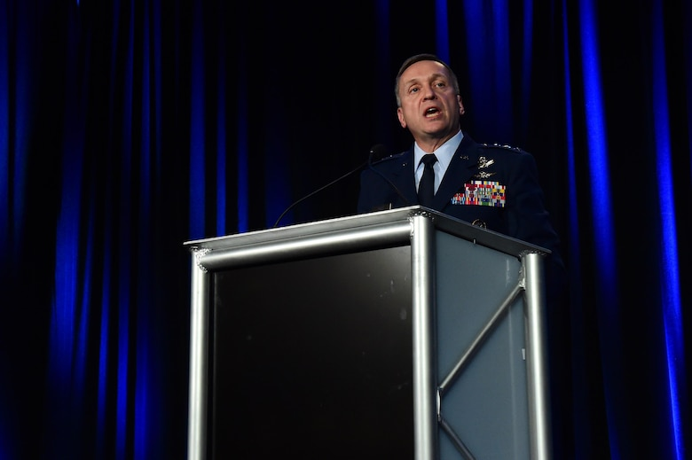 Lt. Gen. David Buck, Commander, 14th Air Force (Air Forces Strategic), Air Force Space Command; and Commander, Joint Functional Component Command for Space, U.S. Strategic Command speaks during the Space Warfighters luncheon April 12, 2016, at the Broadmoor Hotel in Colorado Springs, Colo. Buck focused on the role space assets play in keeping troops safe, informed and effective around the world. (U.S. Air Force photo by Airman 1st Class Gabrielle Spradling/Released)