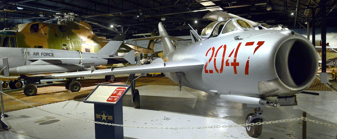 A MiG-17 Fresco is one of the aircraft displayed in Hangar One. The prototype MiG-17 NATO, code name Fresco, first flew in January 1950 and was reported to have exceeded Mach 1 in level flight. (U.S. Air Force photo by Tommie Horton)