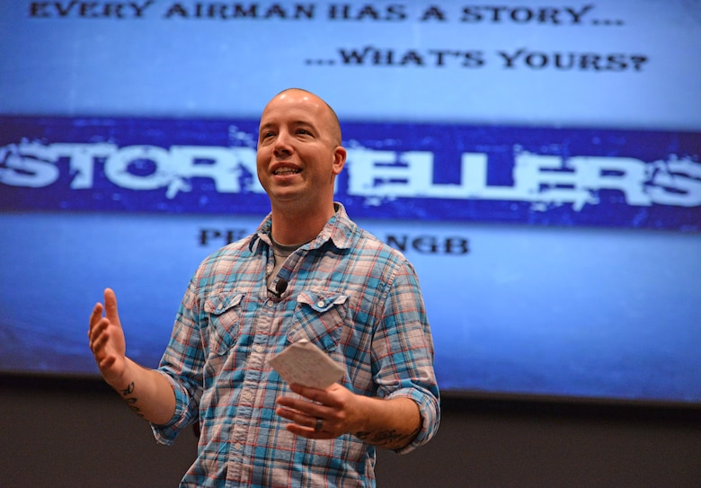 Master Sgt. Kevin Reiter, an active duty member of the 64th Air Refueling Squadron, command support staff NCO in charge, shares his story with Total Force Airman in the 157th Air Refueling Wing during the Air Force Storytellers forum at the Loy auditorium, Pease Air National Guard Base, N.H., April 14, 2016. Storytellers is a resiliency forum where Airmen discuss life changing experiences, extreme circumstances, family stress and professional distress and having or finding the resiliency and strength to overcome them. (U.S. Air National Guard photo by Staff Sgt. Curtis J. Lenz)
