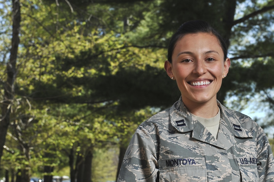 Air Force Capt. Tahina Montoya stands for a photo at Fort George G. Meade, Md..