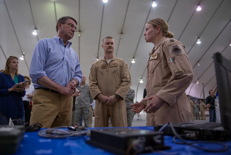Defense Secretary Ash Carter takes a tour of a U.S. Air Force assets at Al-Dhafra Air Base in the United Arab Emirates, April 16, 2016. DoD photo by Air Force Senior Master Sgt. Adrian Cadiz.