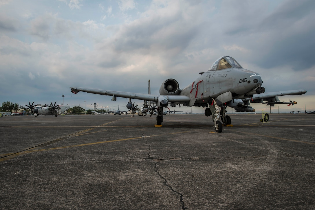 A U.S. Air Force A-10C Thunderbolt II, with the 51st Fighter Wing, Osan Air Base, Republic of Korea, sits on the flight line of Clark Air Base, Philippines, April 16, 2016, after having flown missions in support of Exercise Balikatan 16. The A-10Cs stayed supporting a newly stood up Air Contingent in the Indo-Asia-Pacific region. The contingent provides opportunities to expand cooperation and interoperability with Philippine counterparts and reassure partners and allies of the United States' commitment in the region. The five A-10Cs were joined by three HH-60G Pavehawks and approximately 200 Pacific Air Forces personnel including aircrew, maintainers, logistics and support personnel. (U.S. Air Force photo by Staff Sgt. Benjamin W. Stratton)