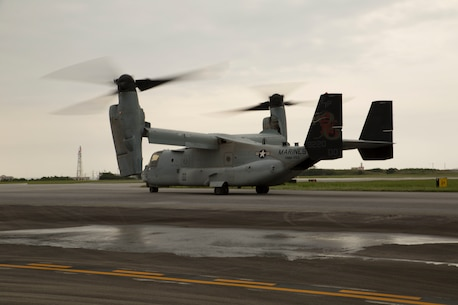 """An MV-22 Osprey with Marine Medium Tiltrotor Squadron 265, 31st Marine Expeditionary Unit, begins to takeoff April 17 from Marine Corps Air Station Futenma. United States Forces, Japan is providing operational airlift support in coordination with the Government of Japan's efforts to provide relief following the devastating earthquake near Kumamoto. """"We express our deepest condolences to all of those affected by the recent earthquakes in Kyushu,"""" said Lt. Gen. John Dolan, commander of USFJ. """"To the people of Japan and the region affected by this tragedy we send our heartfelt sympathies. The men and women of U.S. Forces, Japan stand with you during this difficult time."""" The long-standing alliance between Japan and the U.S. allows U.S. military forces in Japan to provide rapid, integrated support to the Japanese Self-Defense Forces and civil relief efforts."""