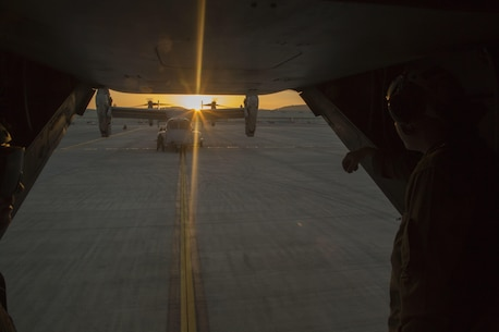 MV-22B Ospreys with Marine Medium Tiltrotor Squadron 265 (Reinforced), 31st Marine Expeditionary Unit arrive at Marine Corps Air Station Iwakuni, Japan, April 17, 2016. The aircraft arrived in preparation to support the Government of Japan's relief efforts in response to the earthquakes that struck the island of Kyushu earlier this week. The 31st MEU is the only continually forward-deployed MEU and remains the Marine Corps' force-in-readiness in the Asia-Pacific region. (U.S. Marine Corps photo by Cpl. Samantha Villarreal/Released)