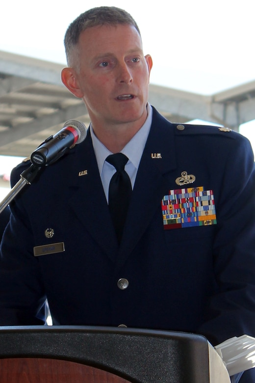 Lt. Col. David Spehar addresses the 127th Maintenance Group for the first time after formally assuming command of the Group at Selfridge Air National Guard Base, Mich., April 16, 2017. The Group maintains the A-10 Thunderbolt II aircraft at Selfridge. (U.S. Air National Guard photos by Tech. Sgt. Dan Heaton)