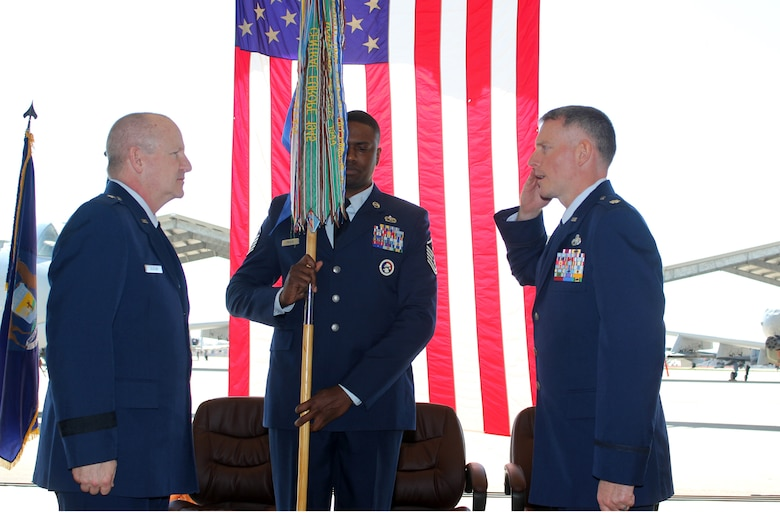Lt. Col. David Spehar salutes Brig. Gen. John D. Slocum during a change of command ceremony for the 127th Maintenance Group at Selfridge Air National Guard Base, Mich., April 16, 2017. Slocum is the commander of the 127th Wing. Spehar assumed command of the Group, replaces Col. Rolf E. Mammen, who now serves as the 127th Wing vice commander. Holding the 127th MXG guidon is Master Sgt. Akenty Frazer, the first sergeant of the Group. The Group maintains the A-10 Thunderbolt II aircraft at Selfridge. (U.S. Air National Guard photos by Tech. Sgt. Dan Heaton)