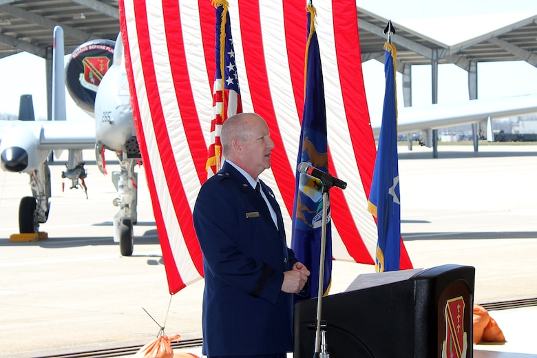 Brig. Gen. John D. Slocum, 127th Wing commander, addresses the troops during a change of command ceremony for the 127th Maintenance Group at Selfridge Air National Guard Base, Mich., April 16, 2017. The Group maintains the A-10 Thunderbolt II aircraft at Selfridge. (U.S. Air National Guard photos by Tech. Sgt. Dan Heaton)