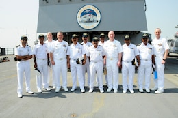 MUMBAI, India (April 6, 2016) Indian Navy chiefs pose with U.S. Navy chief from USS Blue Ridge and Commander, U.S. 7th Fleet on the flight deck of USS Blue Ridge. (U.S. Navy photo.)
