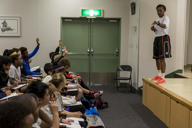 Marke Freeman, a director at Point Guard College, conducts a period of classroom instruction during the 2016 Mainland Basketball Association Spring Basketball Camp at Marine Corps Air Station Iwakuni, Japan, April 13, 2016. Student athletes between the ages of 12 and 18 attended the camp seeking to improve their knowledge of skills and basketball such as shooting, passing, dribbling, rebounding and defending. The four-day camp included morning, afternoon and evening sessions, which held classroom instruction and on-court practices. (U.S. Marine Corps photo by Lance Cpl. Aaron Henson/Released)