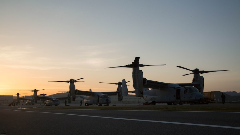 MV-22B Ospreys with Marine Medium Tiltrotor Squadron 265 (Reinforced), 31st Marine Expeditionary Unit arrive at Marine Corps Air Station Iwakuni, Japan, April 17, 2016. The aircraft arrived in preparation to support  the Government of Japan's relief efforts in response to the earthquakes that struck the island of Kyushu earlier this week. The 31st MEU is the only continually forward-deployed MEU and remains the Marine Corps' force-in-readiness in the Asia-Pacific region.