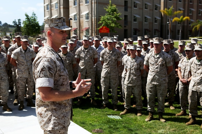 U.S. Marine Lt. Col. Eric J. Penrod addresses non-commissioned officers from 7th Engineer Support Battalion at the opening of a new NCO lounge, known as Chapultepec's, in their barracks building aboard Camp Pendleton, Calif., April 15, 2016. Penrod is the commanding officer of 7th ESB. The newly opened lounge is dedicated to give the NCOs a place in the barracks to come together and unwind, forming stronger camaraderie in their ranks. (U.S. Marine Corps photo by Cpl. Carson Gramley/released)