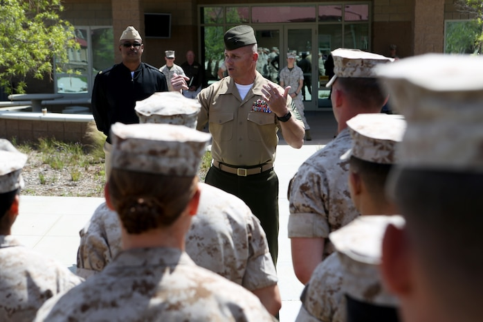 U.S. Marine Sgt. Maj. Charles W. Weeks addresses non-commissioned officers from 7th Engineer Support Battalion at the opening of a new NCO lounge, known as Chapultepec's, in their barracks building aboard Camp Pendleton, Calif., April 15, 2016. Weeks is the sergeant major of 7th ESB. The newly opened lounge is dedicated to give the NCOs a place in the barracks to come together and unwind, forming stronger camaraderie in their ranks. (U.S. Marine Corps photo by Cpl. Carson Gramley/released)