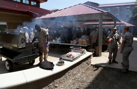 U.S. Marine non-commissioned officers and senior leaders from 7th Engineer Support Battalion participate in a cookout after the opening of their new NCO lounge, known as Chapultepec's, in their barracks building aboard Camp Pendleton, Calif., April 15, 2016. The newly opened lounge is dedicated to give the NCOs a place in the barracks to come together and unwind, forming stronger camaraderie in their ranks. (U.S. Marine Corps photo by Cpl. Carson Gramley/released)