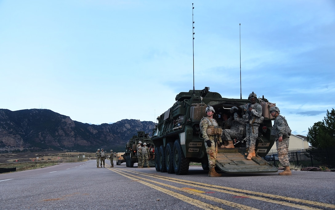 Soldiers and Stryker vehicles from the 1st Stryker Brigade Combat Team, 4th Infantry Division at Fort Carson, Colo., provided support for the 50th anniversary rededication ceremony at Cheyenne Mountain Air Force Station, Colo., April 15, 2016. Since its inception during the Cold War and throughout the war on terrorism, Cheyenne Mountain has remained critical to the defense mission, providing command and control for the nation since 1966. Cheyenne Mountain AFS is owned by the 21st Space Wing at Peterson Air Force Base, Colo., and operated by the 721st Mission Support Group. (U.S. Air Force photo/Airman 1st Class Dennis Hoffman)