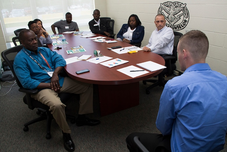 Gerald Felder (left, front row), suicide program manager, 143rd Sustainment Command (Expeditionary), and his students enrolled in an Applied Suicide Intervention Skills Training (ASIST) and Ask, Care, Escort-Suicide Intervention (ACE-SI) workshop conducted April 15-17, 2016, in Orlando, Fla., watch a roleplay scenario depicting a young man determined to end his misery by taking his own life. Roleplaying was one of the many interactive activities that taught 27 Soldiers and civilians from the 143rd ESC how to provide immediate and effective care to individuals contemplating suicide through ASIST's scientific yet compassionate approach to connecting the potential victim with caring individuals and life-saving resources. Suicides in the Army ranks rose sharply from 45 in 2001 to 165 in 2012. Three years later, this all-time high dropped by nearly 20 percent thanks in part to interactive programs like ASIST. (U.S. Army photo by Sgt. John L. Carkeet IV, 143rd Sustainment Command (Expeditionary))