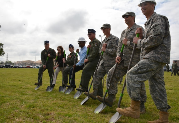 Officials from the 513th Air Control Group, Tinker Air Force Base, Air Force Reserve, Fortis Networks, Inc. and the U.S. Army Corps of Engineers gathered to break ground on the new operations facility April 14 during a ceremony in the field east of the 72nd Air Base Wing Headquarters, Bldg. 460. The 32,000 sq. ft. facility will allow the currently physically separated units to have a consolidated Air Control Group Headquarters, Operations Support Flight and Airborne Air Control Squadron facility.  The building is scheduled to be completed by January 2018. (U.S. Air Force photo/Maj. Jon Quinlan)