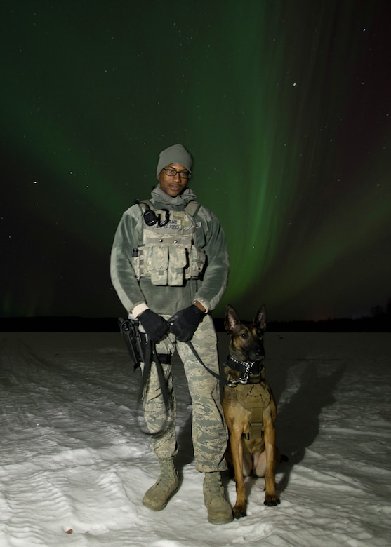 "U.S. Staff Sgt. Mathis Williams, a 354th Security Forces military working dog (MWD) handler, takes a break from a patrol with MWD Oopal in the dark at 30 degrees below zero March 7, 2016, at Eielson Air Force Base, Alaska, while the aurora borealis dances behind them. Military working dogs from Eielson work alongside the human defenders who stand ""Ready to go at 50 below"" 24 hours a day protecting assets at the top of the world in the U.S. Air Force's Pacific theater of operations. (U.S. Air Force photo by Staff Sgt. Shawn Nickel/Released)"