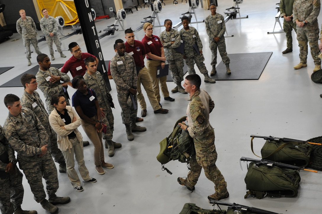 Tech. Sgt. Timothy, 334th Training Squadron combat control instructor, briefs Air Force ROTC cadets on Keesler's battlefield Airmen training at Matero Hall during Pathways to Blue April 15, 2016, Keesler Air Force Base, Miss. Pathways to Blue, a diversity outreach event hosted by 2nd Air Force, the 81st Training Wing and the 403rd Wing, included more than 180 cadets from Air Force ROTC detachments from various colleges and universities. Cadets received hands-on briefings on technical and flying operations and an orientation flight in support of the Air Force's Diversity Strategic Roadmap program. (U.S. Air Force photo by Kemberly Groue)