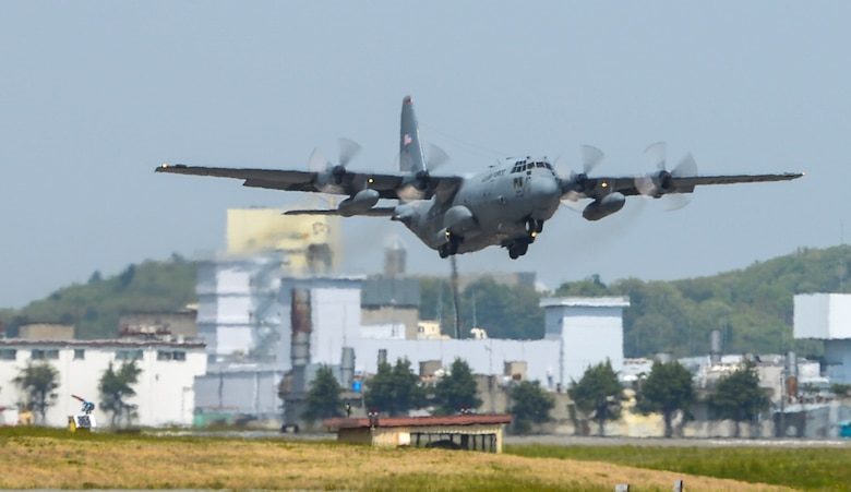 A U.S. Air Force C-130 Hercules takes off from Yokota Air Base, Japan, April 18, 2016. The 374th Airlift Wing sent two aircraft in support of the Government of Japan in their relief efforts for the series of earthquakes that took place in the Kyushu region recently. The aircraft transported heavy vehicles and personnel from Chitose Air Base, Hokkaido to Kyushu. (U.S. Air Force photo by Airman 1st Class Elizabeth Baker/Released)