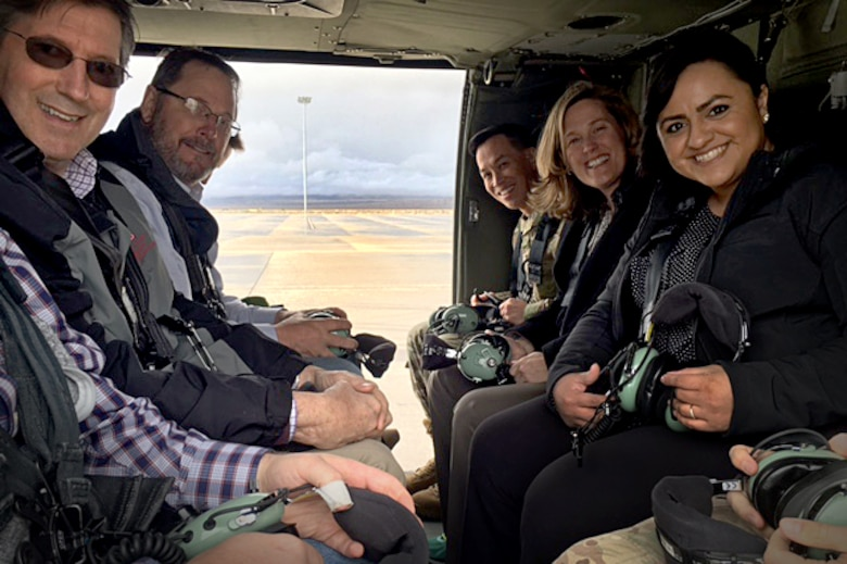 U.S. Army Corps of Engineers South Pacific Division commander, Brig. Gen. Mark Toy and other Sacramento District staff members take off from Hill Air Force Base during a three-day tour March 29-31, 2016, of project sites throughout the states of Utah. During the flight to Dugway Proving Ground, Toy was briefed on regulatory projects including the Narrows Dam, which may require mitigation for more than 70 acres of wetlands and the West Davis Corridor, a 20-mile-long highway located in the Great Salt Lake area. (U.S. Army photo / Released)