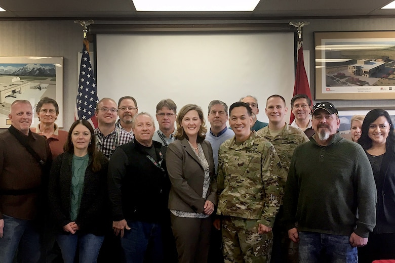 U.S. Army Corps of Engineers South Pacific Division commander, Brig. Gen. Mark Toy and Sacramento District staff from the Bountiful Regulatory Office pose for a photo during a three-day tour March 29-31, 2016, of project sites throughout the states of Utah and Colorado. Toy was briefed on regulatory projects including the Narrows Dam, which may require mitigation for more than 70 acres of wetlands and the West Davis Corridor, a 20-mile-long highway located in the Great Salt Lake area. (U.S. Army photo / Released)