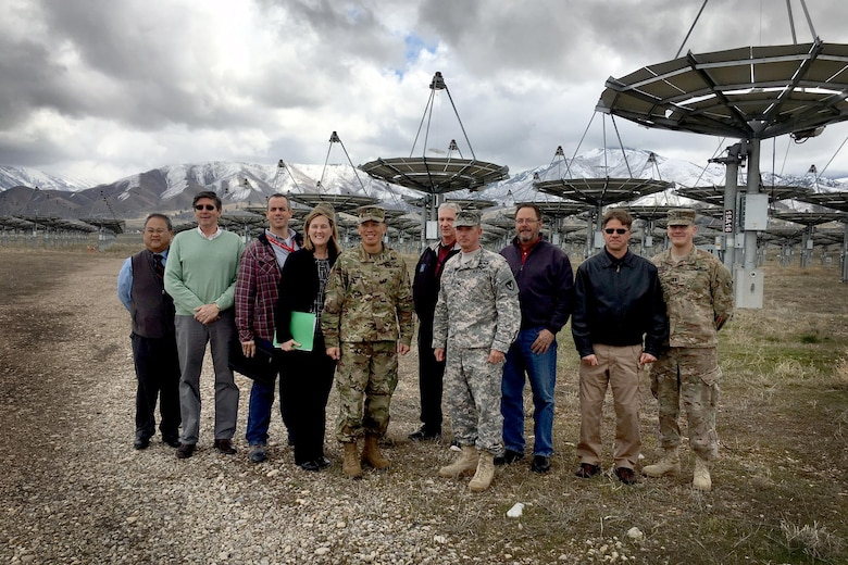 U.S. Army Corps of Engineers South Pacific Division commander, Brig. Gen. Mark Toy and Sacramento District staff gather under the Solar Array at Tooele Army Depot for a group photo during a three-day tour March 29-31, 2016, of project sites throughout the states of Utah. Toy saw the Facilities Sustainment, Restoration and Modernization program up close at the depot's $9.6 million solar array that will bring the installation to net-zero energy consumption. (U.S. Army photos / Released)