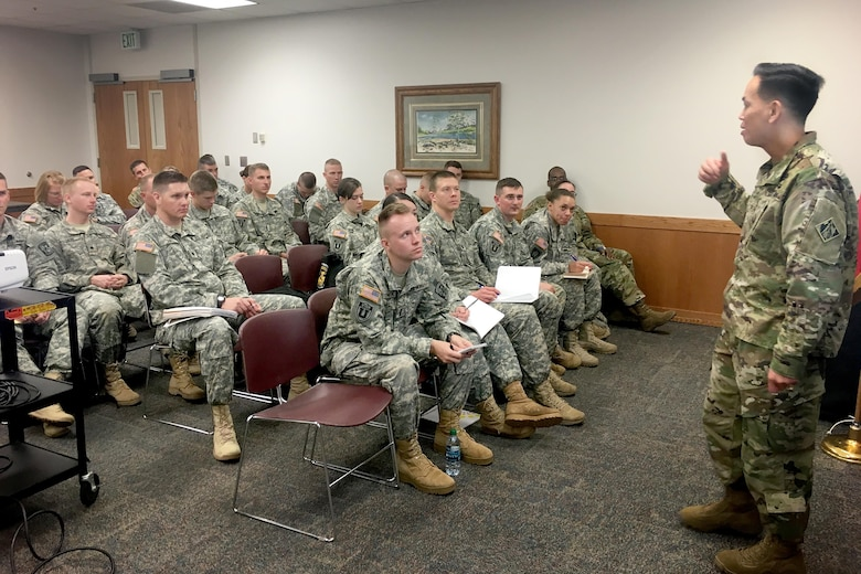 U.S. Army Corps of Engineers South Pacific Division commander, Brig. Gen. Mark Toy speaks to Brigham Young University cadets about leadership during a three-day tour March 29-31, 2016, of project sites throughout the states of Utah. Toy also met with six junior officers stationed at Fort Carson, Colorado and appeared as a guest speaker at the 299th Brigade Engineer Battalion Dining Out event. (U.S. Army photos / Released)