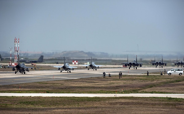 KUNSAN AIR BASE, Republic of Korea (April 18, 2016) - Aircraft from the 8th Fighter Wing, 19th Fighter Wing, Jungwon Air Base, Republic of Korea (ROK), and the 11th Fighter Wing, Daegu Air Base, ROK, taxi towards the runway during Max Thunder 16.  Exercise Max Thunder is part of a continuous exercise program to enhance interoperability between U.S. and ROK forces.