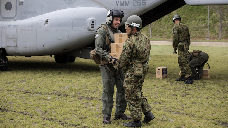 Marines with Marine Medium Tiltrotor Squadron 265 (Reinforced), 31st Marine Expeditionary Unit, assists the government of Japan in supporting those affected by recent earthquakes in Kumamoto, Japan, April 18, 2016. VMM-265 picked up supplies from Japan Ground Self-Defense Force Camp Takayubaru and delivered them to Hakusui Sports Park in the Kumamoto Prefecture. The long-standing relationship between Japan and the U.S. allows U.S. military forces in Japan to provide rapid, integrated support to the Japan Self-Defense Forces and civil relief efforts.