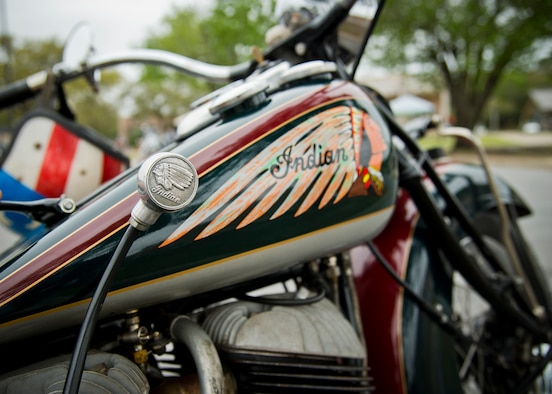 An old style-model Indian motorcycle sits at the base's annual motorcycle safety rally April 15 at Eglin Air Force Base, Fla. More than 500 civilian and military riders rode in for the joint 53rd Wing/96th Test Wing event. (U.S. Air Force photo/Samuel King Jr.)