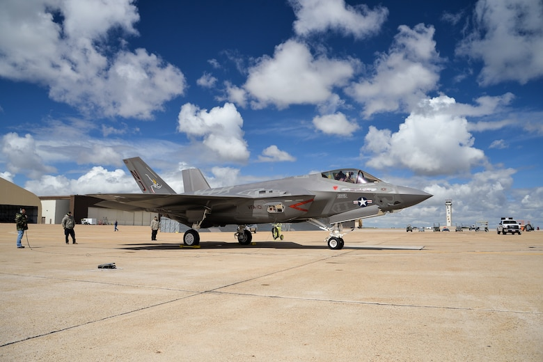 "An F-35 aircraft arrives April 15 at Hill Force Base, Utah. The aircraft is the first Navy variant—designated ""F-35C"" —to arrive at the base where it will undergo depot modifications through the summer of 2016. The aircraft is assigned to U.S. Navy Strike Fighter Squadron 101 (VFA-101), Eglin AFB, Florida. (U.S. Air Force photo by R. Nial Bradshaw)"
