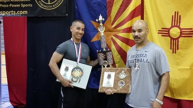 The Airman is now a passionate powerlifter and he's competed several times and won every competition he entered. His resilient spirit strengthened him to compete in powerlifting: squat, bench press, and deadlift categories. He's also stepped on the bodybuilding stage and took first place there as well