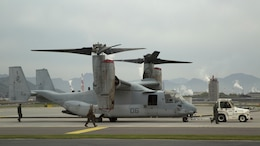 MV-22B Ospreys with Marine Medium Tiltrotor Squadron 265 (Reinforced), 31st Marine Expeditionary Unit arrived at Marine Corps Air Station Iwakuni, Japan, April 18, 2016 to work with the Japanese Ground Self Defense Force to distribute relief supplies after a series of earthquakes struck the island of Kyushu.