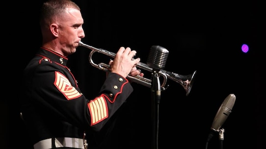 Marines with the Marine Corps All Star Jazz Band perform at Palm Beach Central High School in West Palm Beach, Florida as part of their southwest regional tour. (Photo by Sgt Michael Lopez, USMC)