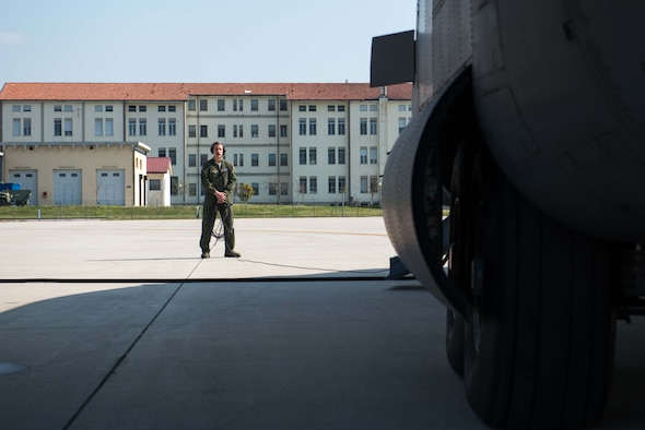 Senior Airman Alec Miller, a loadmaster from the 96th Airlift Squadron, prepares for departure from Aviano AB, Italy, in support of Exercise Saber Junction. (U.S. Air Force photo by Staff Sgt. Trevor Saylor)