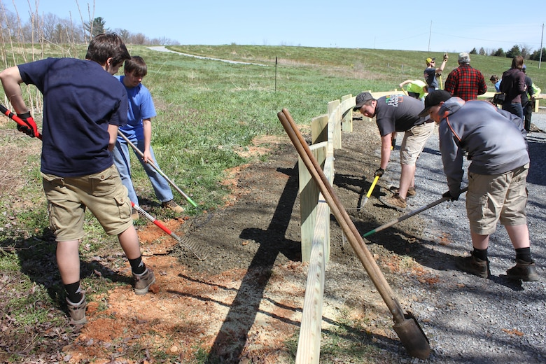 More than three hundred volunteers participated in the 35th annual Take Pride in Blue Marsh Day on April 16, 2016.  Volunteers work on a variety of projects, including litter clean-up, nature trail maintenance, guiderail construction, bridge construction and tree planting.