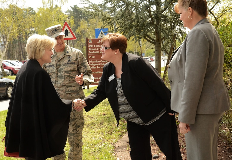 Dawn Goldfein, wife of Air Force Vice Chief of Staff Gen. David L. Goldfein, is greeted by Lt. Col. Thomas Ausherman, the 86th Force Support Squadron commander, and members from the Ramstein Airman and Family Readiness Center at Ramstein Air Base, Germany, April 18, 2016. Dawn had the opportunity to meet with other spouses on base and several dependents who were part of the ordered departure from Turkey in late March. (U.S. Air Force photo/Master Sgt. Amanda Callahan)